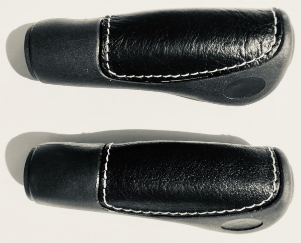 Handlebar Grips, leather inlay black long long