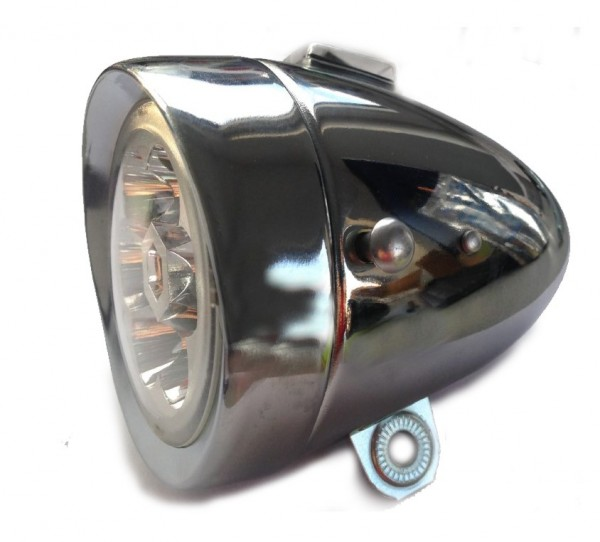 6 LED Battery Frontlamp, 80 mm chrome