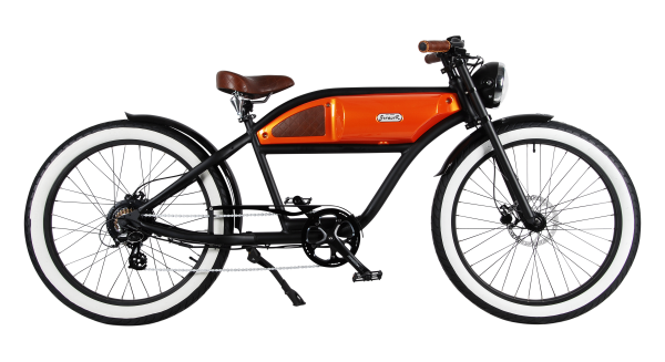 """GREASER"" The Vintage E-Bike in Matt black with orange glossy tank"
