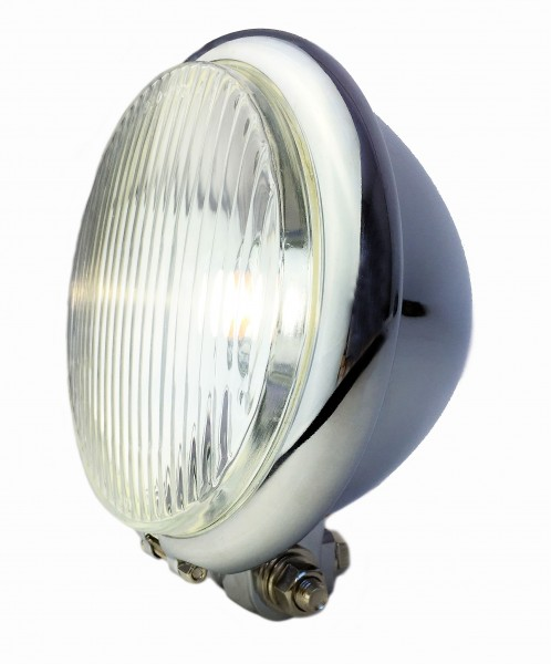 Old Bates style front light LED, 15cm, chrome plated