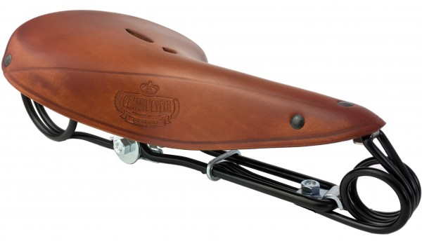 Leather Saddle Lepper 85 Victor honey, Classic Cycle logo