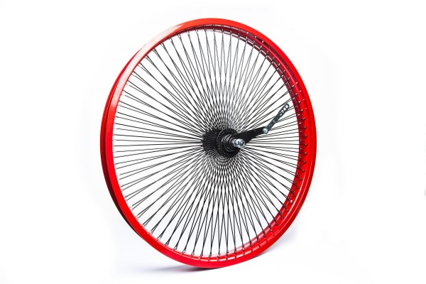 140 Spokes 26 inch. Rear wheel Red Rim with black spokes
