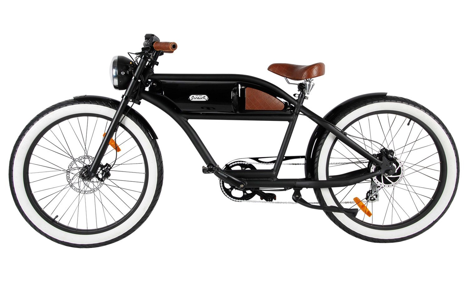 greaser the vintage e bike black with glossy black tank 500 watt all classic cycle en. Black Bedroom Furniture Sets. Home Design Ideas