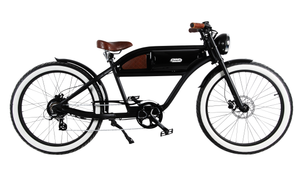 """GREASER"" The Vintage E-Bike in matt black with black glossy tank"