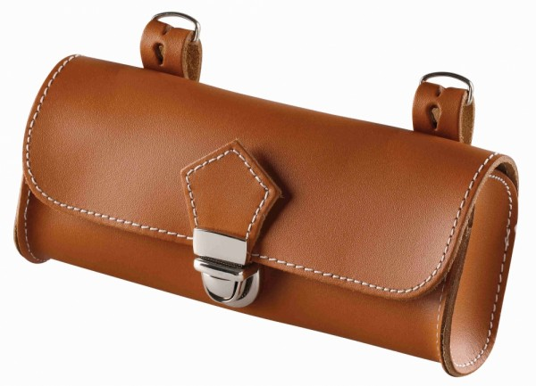 Saddle Bag, real leather cognac brown