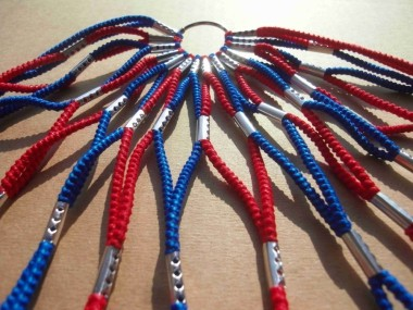 Dress Guard, blue-red, fabric covered Rubber