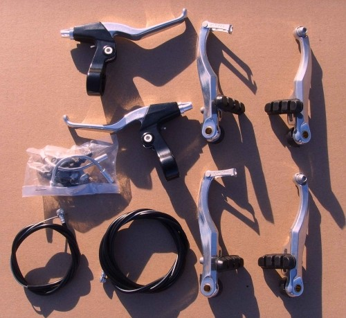 V - Brake Set complete set with extralong Levers for up to 80 mm Fenders
