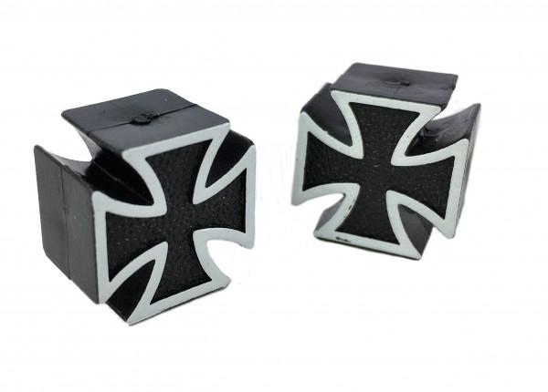 Valve Caps Iron / Maltese Cross, black