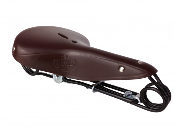 Leather Saddle Hammock Lepper 85 Victor Brown, Classic Cycle Logo