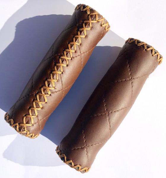 Greaser original Grips with crossed seams, dark brown