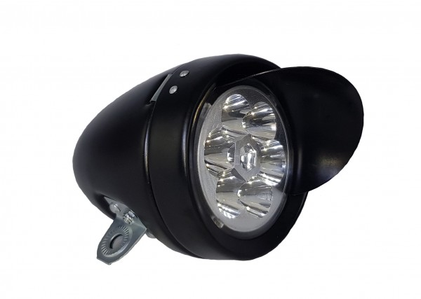 CC Retro LED Battery Frontlamp 70 mm, matt black CP Visor