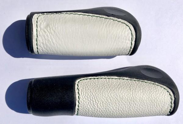 Handlebar Grips, leather inlay black white, long short RG