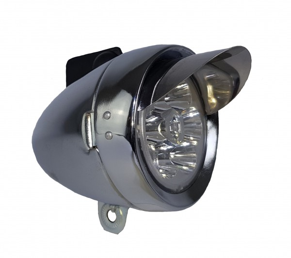 CC Retro LED Battery Frontlamp 70 mm, silver