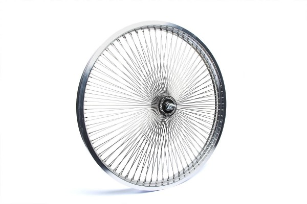 140 Spokes 26 inch. Front Wheel polished alloy