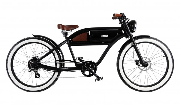 """GREASER"" the Vintage E-Bike, black with glossy black tank, 500 Watt"