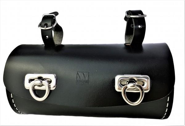 Genuine Leather Saddle Bag in Barrel Shape, black