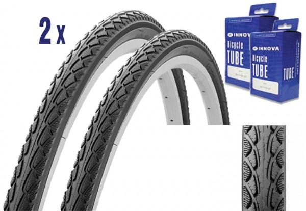 2x Trekking City Bike Tire 28 x 1.50 + Tube with E-bike approval