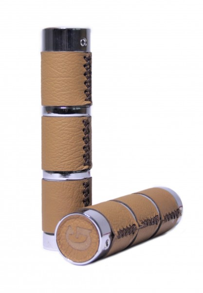 Genuine leather grips on chrome-plated steel, Light Brown