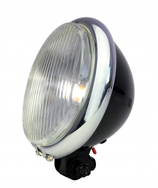 Old Bates style Front light LED, 15cm, glossy black