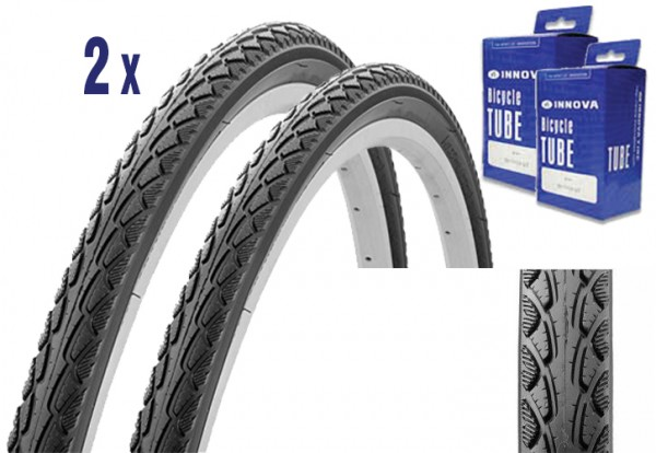 2x Trekking City Bike Tire 28 x 1.75 + Tube with puncture protection