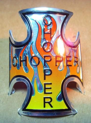 Chopper Iron / Maltese Cross Head Badge, flamed