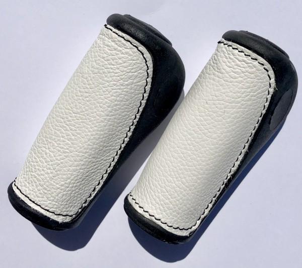 Handlebar Grips, leather inlay white short short
