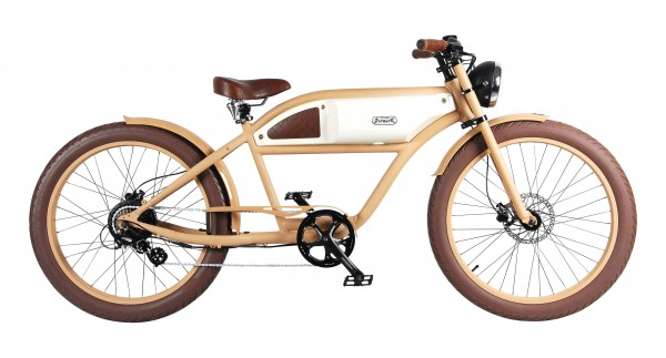 """GREASER"" the Vintage E-Bike beige with glossy ivory tank, 500 Watt"