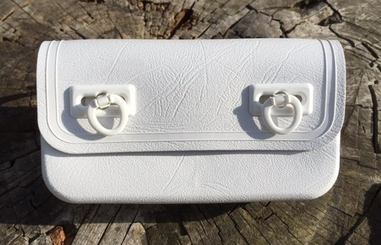 Vintage Saddle Bag Plastic for Tools, white 1970-80s