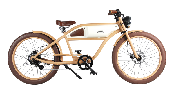 """""""GREASER"""" The Vintage E-Bike in beige with ivory tank"""