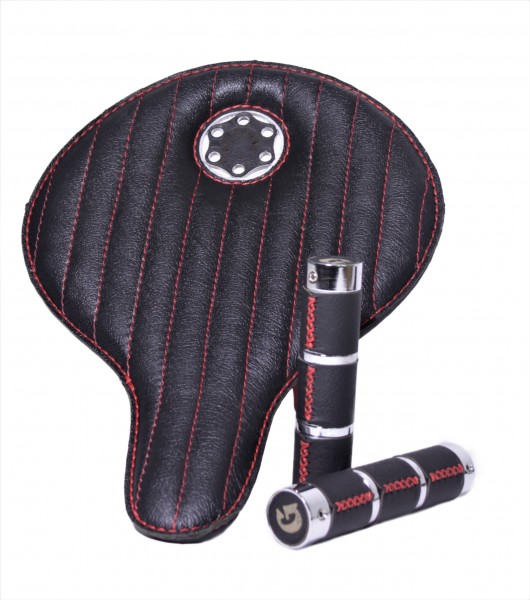 Special Box Avantgarde Saddle Leather Black with Red seams with grips