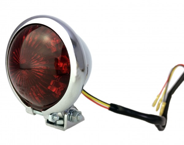 12V Bates style taillight LED red, for motorcycle, chrome plated
